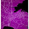 Dalian Street Map - Dalian China Road Map Art On A Purple Backgro by Jurq Studio