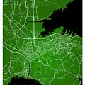 Dalian Street Map - Dalian China Road Map Art On Green Backgro by Jurq Studio