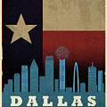 Dallas City Skyline State Flag Of Texas Art Poster Series 020 by Design Turnpike