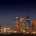 Dallas Skyline At Dusk Big Moon Night  by Jon Holiday