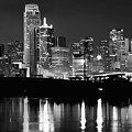 Dallas Skyline Moon Bw 032418 by Rospotte Photography