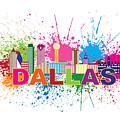 Dallas Skyline Paint Splatter Text Illustration by Jit Lim