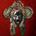 Dan Dean-gle Mask Of The Ivory Coast And Liberia On Red Velvet by Serge Averbukh