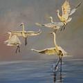 Dancing Egrets  by Cynthia Farr