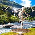 Dancing Statue Near The Waterfall by Pemaro