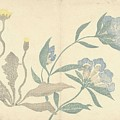 Dandelions And Blue Flowers, Nakamura Hochu, 1826 by Nakamura Hochu