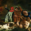 Dante And Virgil In The Underworld by Ferdinand Victor Eugene Delacroix