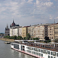 Danube Riverside With Old Buildings Budapest Hungary by Goce Risteski