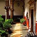 Dappled Sun In The Morning Courtyard by Mexicolors Art Photography