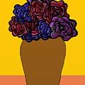Dark Rose Folk Art by Priscilla Wolfe