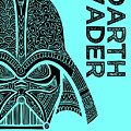 Darth Vader - Star Wars Art - Blue by Studio Grafiikka