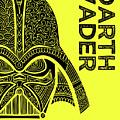 Darth Vader - Star Wars Art - Yellow by Studio Grafiikka
