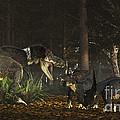 Daspletosaurus Confronts A Family by Arthur Dorety