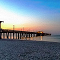 Dawn At Gulf Shores Pier Al Seascape 1283a Digital Painting by Ricardos Creations