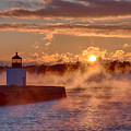 Dawn Peeking Over At Derby Lighthouse by Jeff Folger