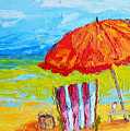 Day At The Beach - Modern Impressionist Knife Palette Oil Painting by Patricia Awapara