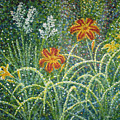 Daylilies And Yucca by Jim Rehlin