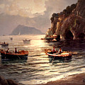 Day's End And Work Begins In The Gulf Of Naples by Rosario Piazza