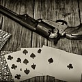 Dead Mans Hand Black And White by Paul Ward