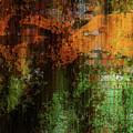 Decadent Urban Brick Green Orange Grunge Abstract by Georgiana Romanovna