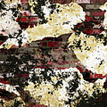 Decadent Urban Red Bricks Painted Grunge Abstract by Georgiana Romanovna
