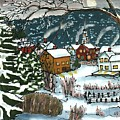 December Village Silk Painting by Linda Marcille