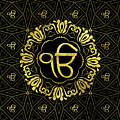 Decorative Gold Ek Onkar / Ik Onkar  Symbol by Creativemotions