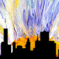Decorative Skyline Abstract  Houston T1115v1 by Mas Art Studio