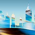 Decorative Skyline Abstract New York P1015b by Mas Art Studio