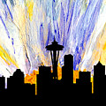 Decorative Skyline Abstract  Seattle T1115z by Mas Art Studio