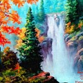 Deep Jungle Waterfall Scene. L A  by Gert J Rheeders