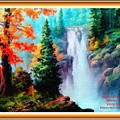 Deep Jungle Waterfall Scene L A With Alt. Decorative Ornate Printed Frame. by Gert J Rheeders