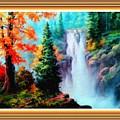 Deep Jungle Waterfall Scene L B With Alt. Decorative Ornate Printed Frame. by Gert J Rheeders