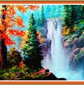 Deep Jungle Waterfall Scene L B With Decorative  Ornate Printed Frame. by Gert J Rheeders