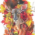 Deer And Fall Leaves by Sonja Oldenburg