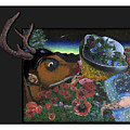 Deer And Girl by Ernestina Casas Carvajal