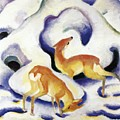 Deer In The Snow 1911 by Marc Franz