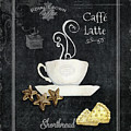 Deja Brew Chalkboard Coffee 2 Caffe Latte Shortbread Chocolate Cookies by Audrey Jeanne Roberts