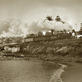 Del Monte Train Passing Lovers Point Beach Coming From Monterey  May 1952 by California Views Archives Mr Pat Hathaway Archives