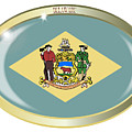 Delaware State Flag Oval Button by Bigalbaloo Stock
