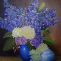 Delphiniums In Blue Vase by Thuthuy Tran
