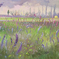 Delphiniums, Storm Passing by Timothy Easton