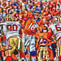 Denver Broncos Peyton Manning Oil Art by Joe Hamilton