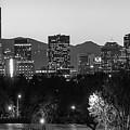 Denver Colorado Skyline Wide Angle Black And White by Gregory Ballos