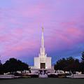 Denver Lds Temple At Sunrise by Marie Leslie