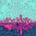 Denver Skyline Abstract 7 by Bekim Art