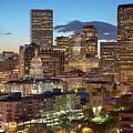 Denver Skyline Evening Panoramic by Steve Mohlenkamp