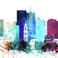 Denver Watercolor Skyline by Dim Dom