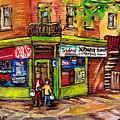 Depanneur Du Coin Scene De Ville De Montreal Au Printemps Carole Spandau Artiste Peintre Quebecois   by Carole Spandau