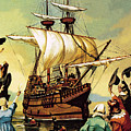Departure Of The Pilgrim Fathers For America  by Ron Embleton